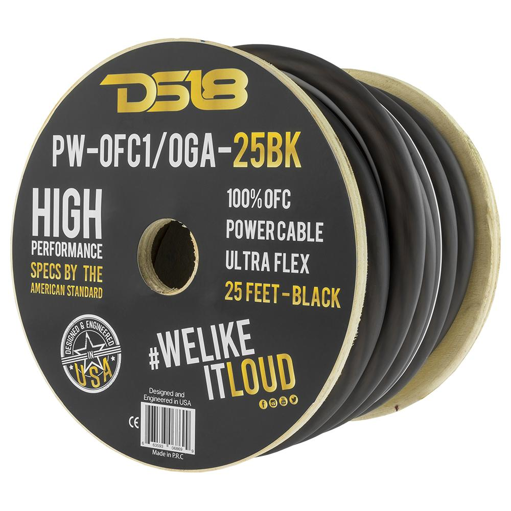 DS18 PW-OFC1/0GA-25BK 25ft Ultra Flex 100% OFC Copper 1/0 Gauge Black Ground Cable