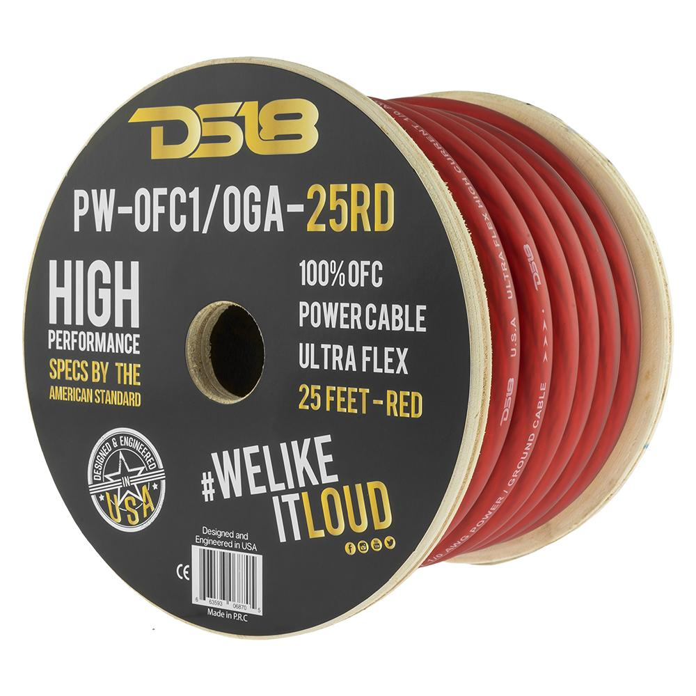 DS18 PW-OFC1/0GA-25RD 25ft Ultra Flex 100% OFC Copper 1/0 Gauge Red Power Cable