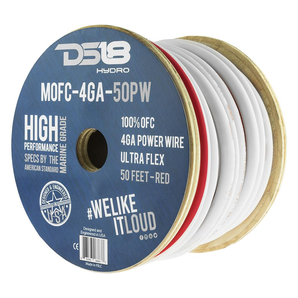 DS18 50ft Marine Grade 4 Gauge 100% Copper OFC Power Wire