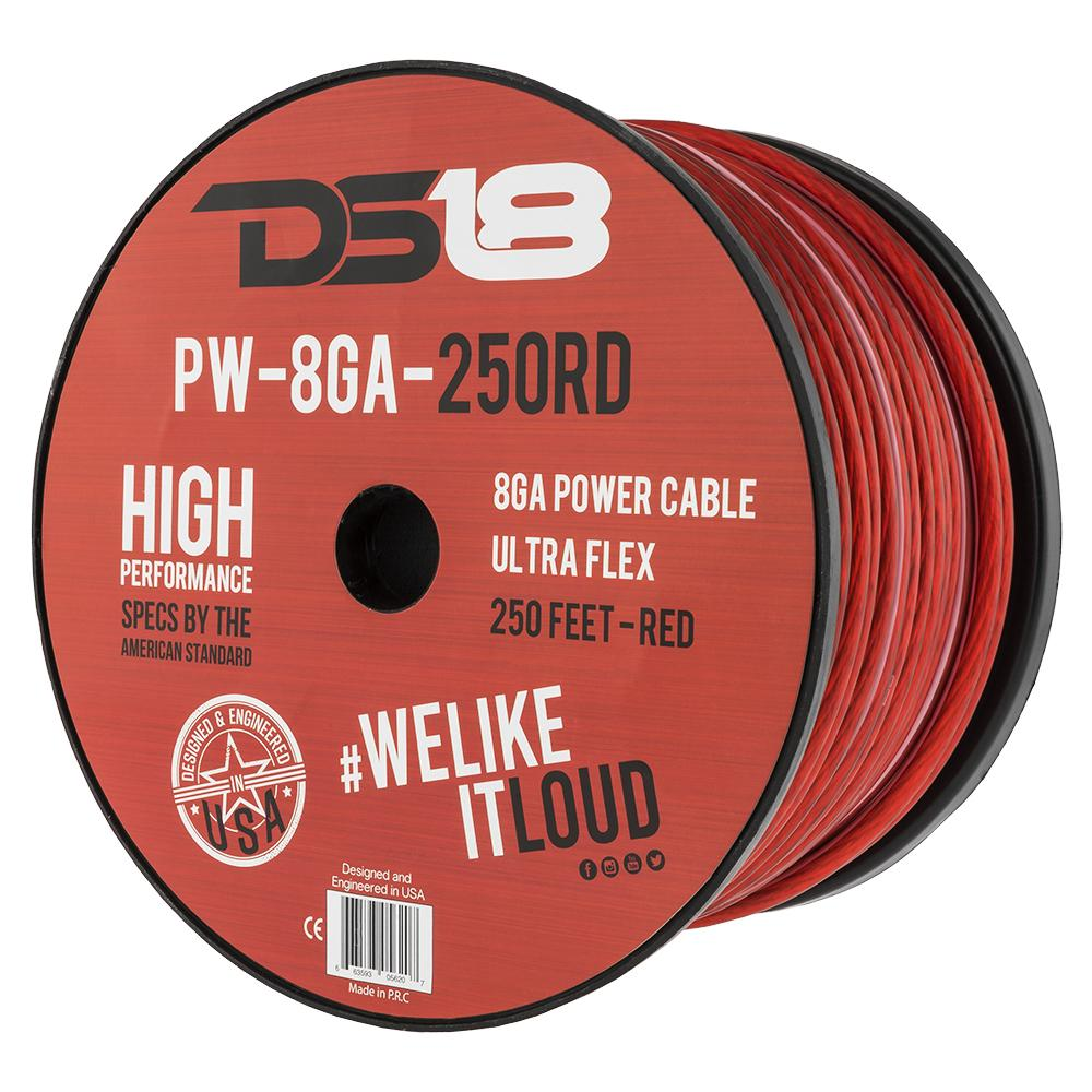 DS18 PW-8GA-250RD 250ft Ultra Flex CCA 8 Gauge Red Power Cable