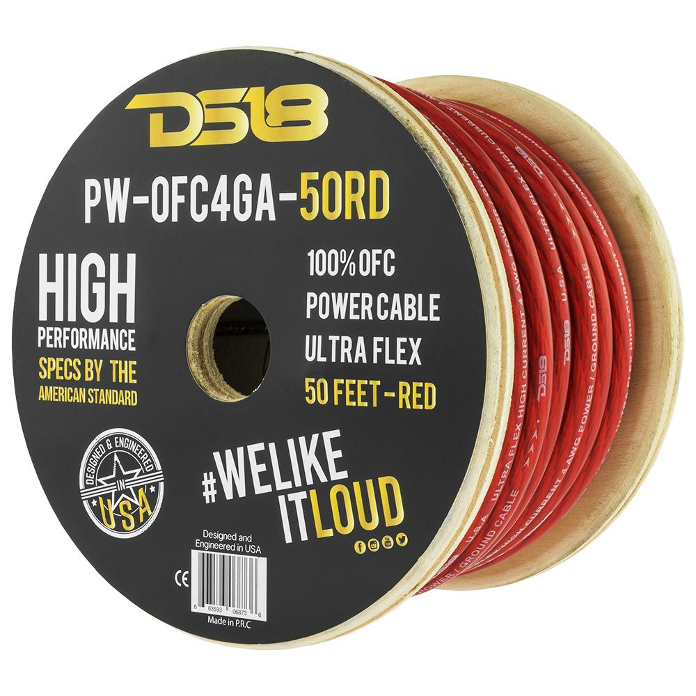 DS18 PW-OFC4GA-50RD 50ft Ultra Flex 100% OFC Copper 4 Gauge Red Power Cable
