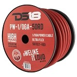 DS18 PW-0GA-50RD 50ft Ultra Flex CCA 1/0 Gauge Red Power Cable