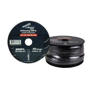 AP-10-100-BK 10 Gauge Black Primary Wire, 100ft Roll - Audiopipe